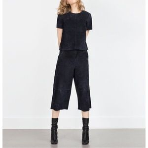 NWT Zara Real Suede dark navy top and culottes. S